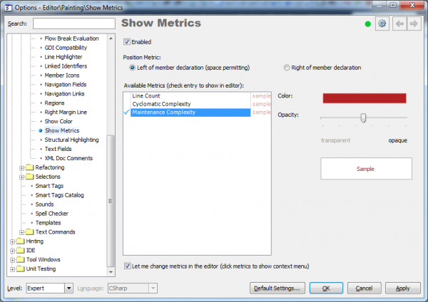 CodeRush ShowMetrics options page