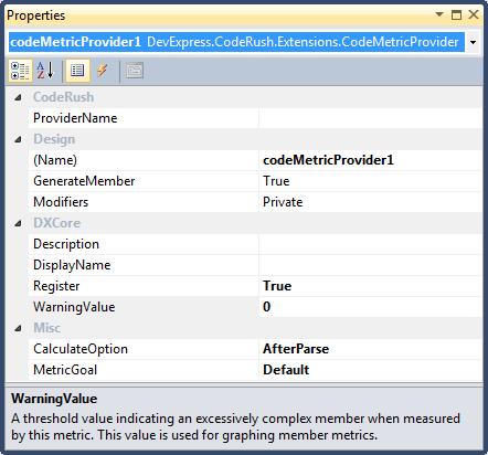 DXCore CodeMetricProvider properties