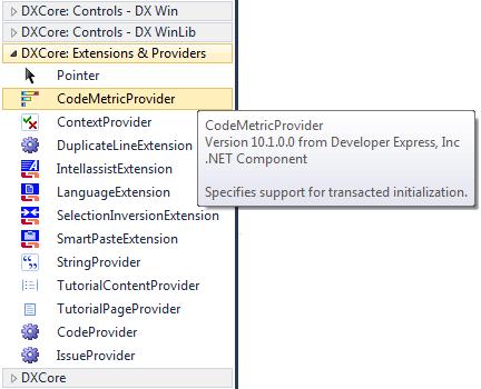 DXCore CodeMetricProvider Toolbox item