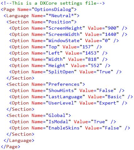 DXCore settings file sample