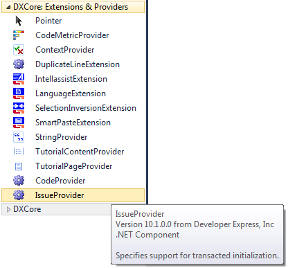 DXCore IssueProvider Toolbox item
