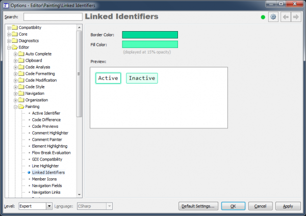 DXCore Linked identifiers options page