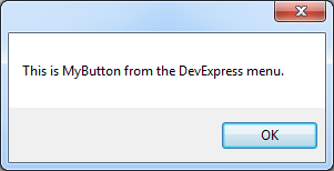 DXCore Action button clicked