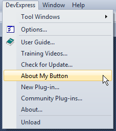 DXCore Action button inside menu