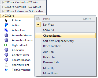 DXCore Toolbox Choose Items...