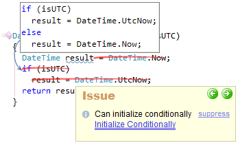 CodeRush Can Initialize Conditionally Fix Preview