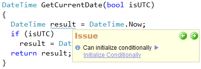 CodeRush Code Issues - Can initialize conditionally