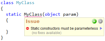 CodeRush Code Issues - Static constructors must be parameterless