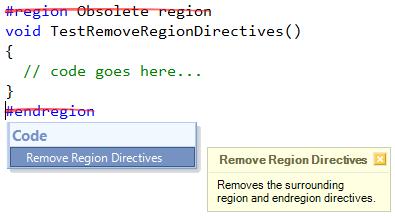 CodeRush Remove Region Directives code provider