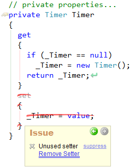 CodeRush Remove Setter Fix