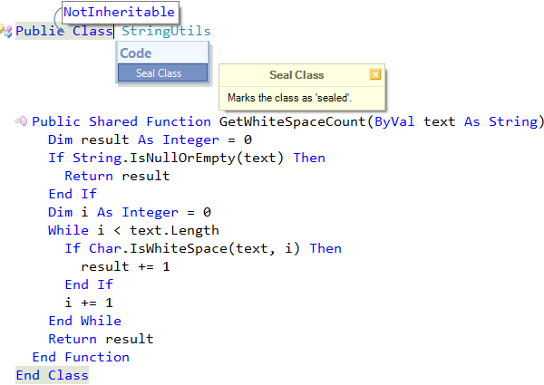 CodeRush Seal Class code provider preview in Visual Basic