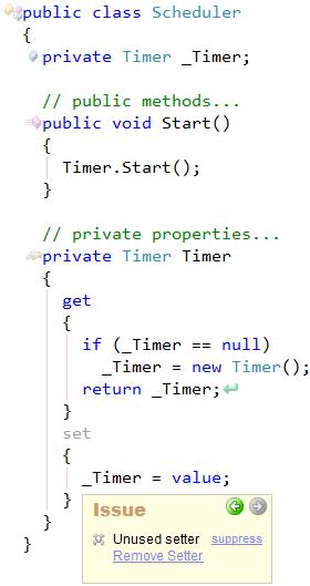 CodeRush Unused Setter Sample
