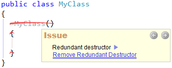 CodeRush Code Issues - Redundant destructor with a fix