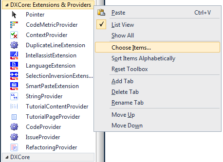 DXCore ContractProvider Choose Items dialog