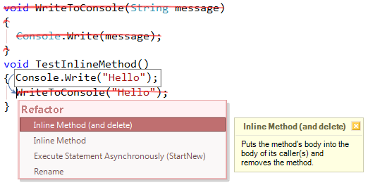 Refactor! Inline Method preview CS