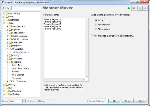 CodeRush Member Mover options page
