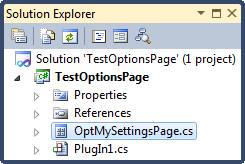 DXCore New OptionsPage project item in SolutionExplorer