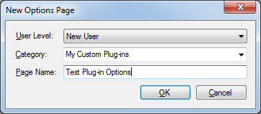DXCore New Options Page dialog