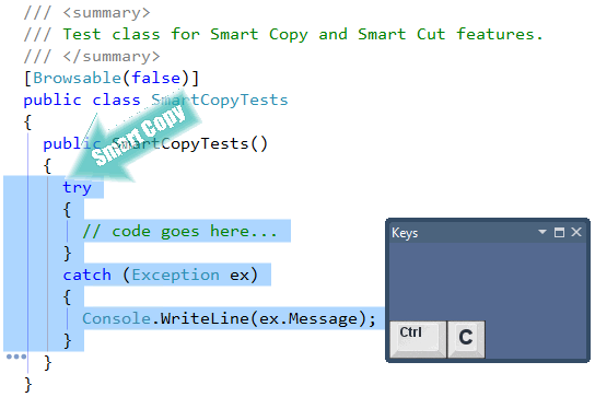 CodeRush Smart Copy on a code block