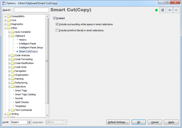 CodeRush Smart Cut (Copy) options page
