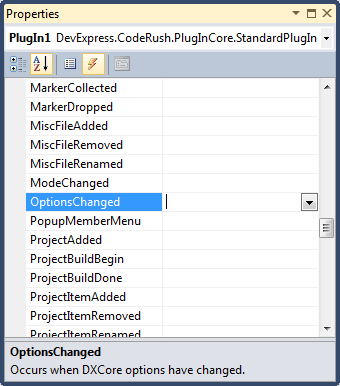 DXCore Standard plug-in's OptionsChanged event