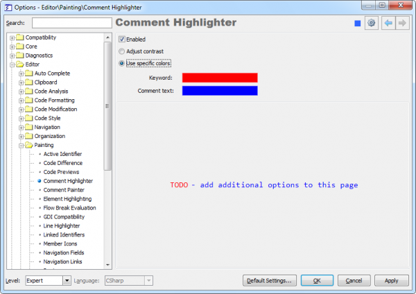CodeRush Comment Highlighter options page