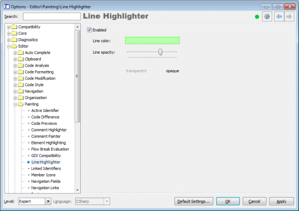 CodeRush Line Highlighter options page