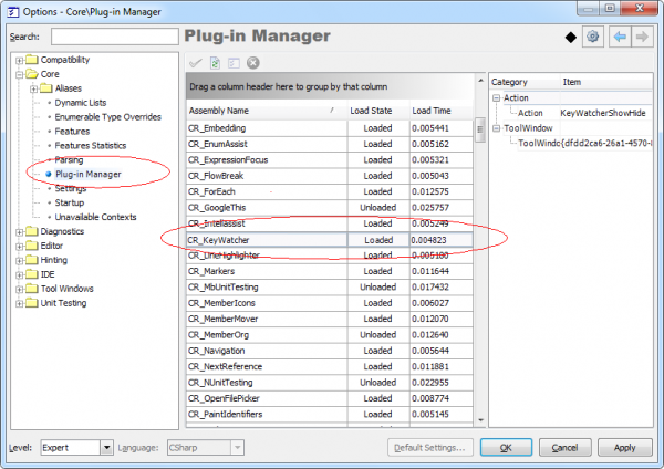 DXCore PlugIn Manager options page