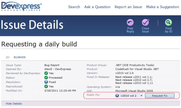 DevExpress Support Center - Request Fix button