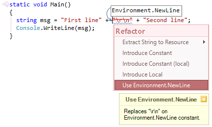 CodeRush Use Environment New Line Fix Preview