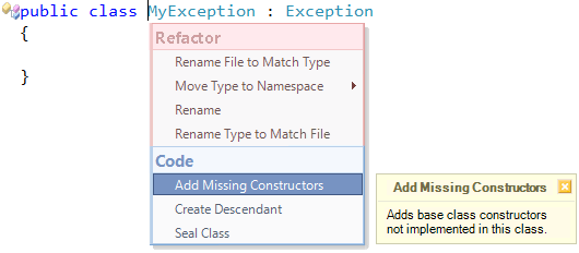 CodeRush Add Missing Constructors - Popup menu