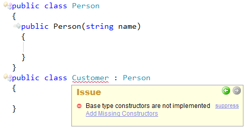 CodeRush Base Type Constructors Are Not Implemented Preview