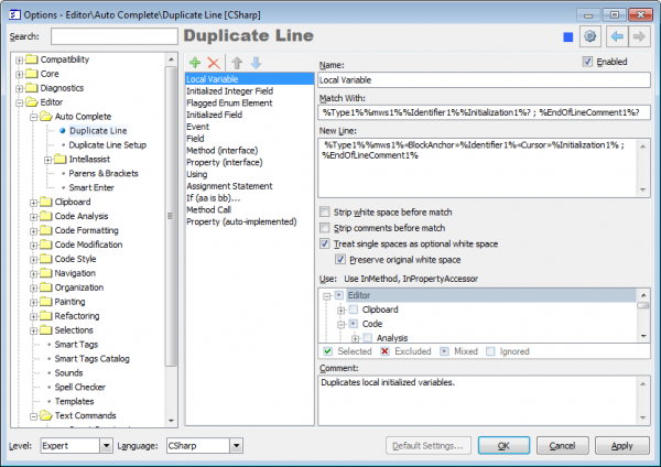 CodeRush Duplicate Line options page