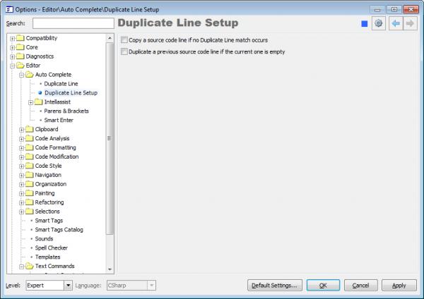 CodeRush Duplicate Line Setup options page