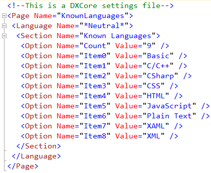 DXCore Known Languages settings file