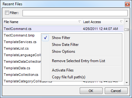 CodeRush Recent Files context menu