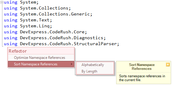 Sort Namespace References refactoring preview