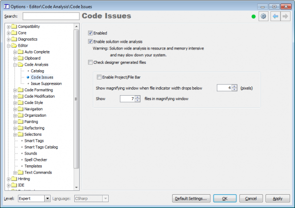 CodeRush Code Issues options page