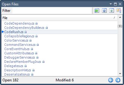CodeRush Open Files tool window