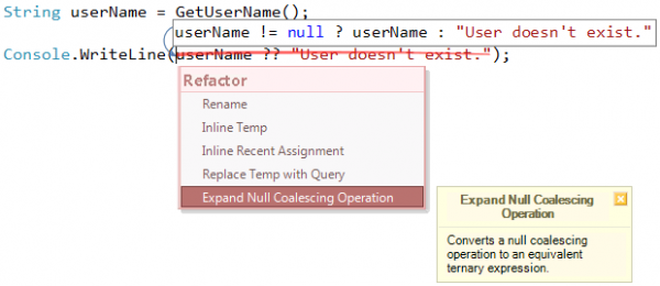Expand Null Coalescing Operation refactoring preview