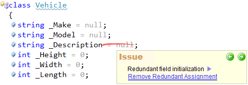 CodeRush - Redundant field initialization code issue