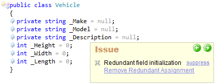 CodeRush Redundant Field Initialization Sample