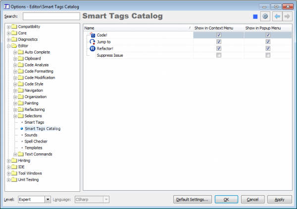 DXCore Smart Tags Catalog options page