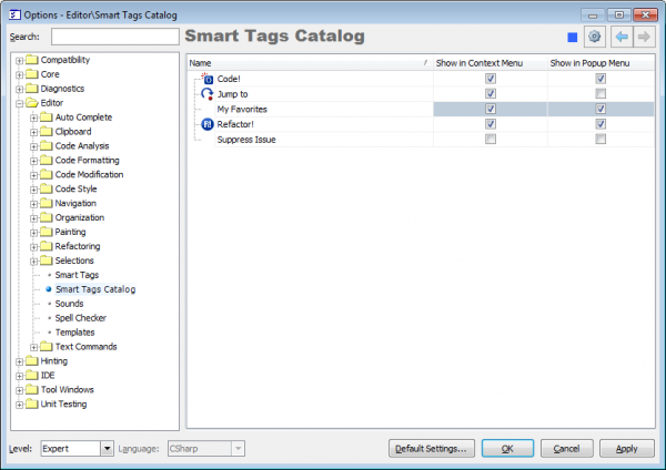 DXCore Smart Tags Catalog options page with new provider