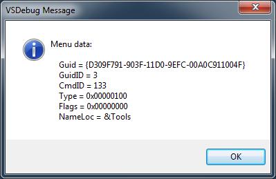 DXCore VSDebug - Tools menu