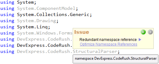 CodeRush Code Issues - Redundant namespace references
