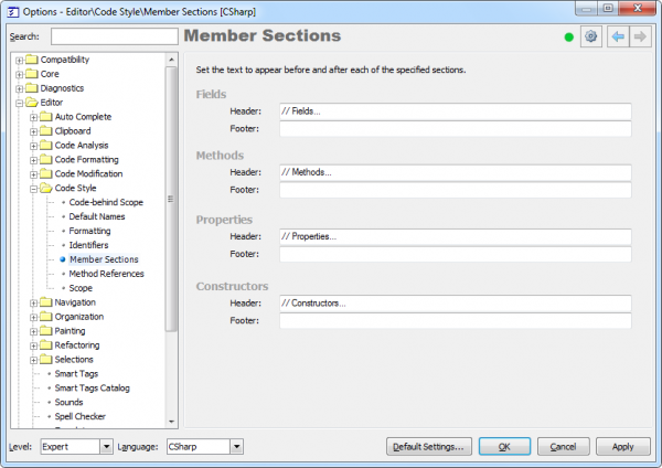 CodeRush Member Sections (CR_TemplateGoto) options page