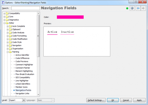 DXCore Navigation Fields options page