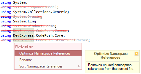 CodeRush Optimize Namespace References Preview