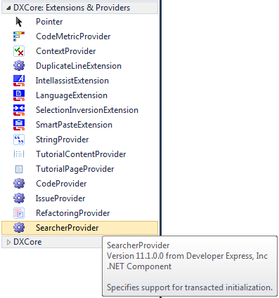 DXCore SearcherProvider on the Toolbox